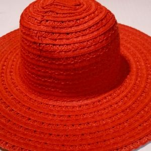 Red Rafia Floppy Sunhat